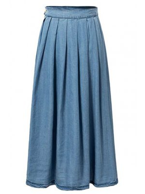 Light Blue High Waist Denim Skirt - Light Blue