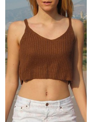 Khaki Sleeveless Knit Crop Top - Khaki