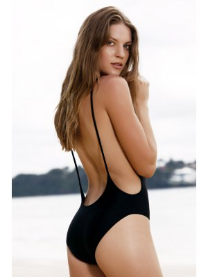 Monokini High Cut Backless One-Piece Swimwear - Black