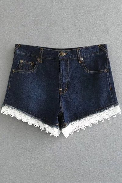 High Waist Fitted Lace Hook Denim Shorts