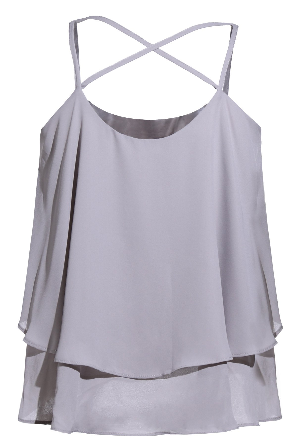 Solid Color Layered Cami Tank Top - GRAY ONE SIZE(FIT SIZE XS TO M)