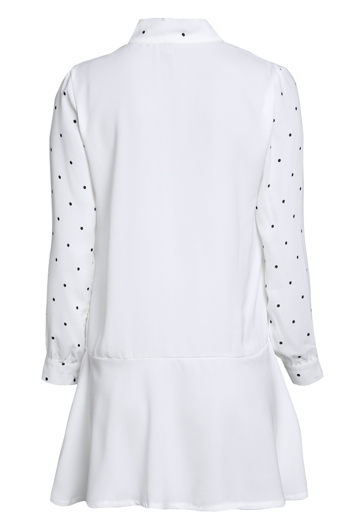 Polka Dot Self Tie Long Sleeve Dress - WHITE ONE SIZE(FIT SIZE XS TO M)