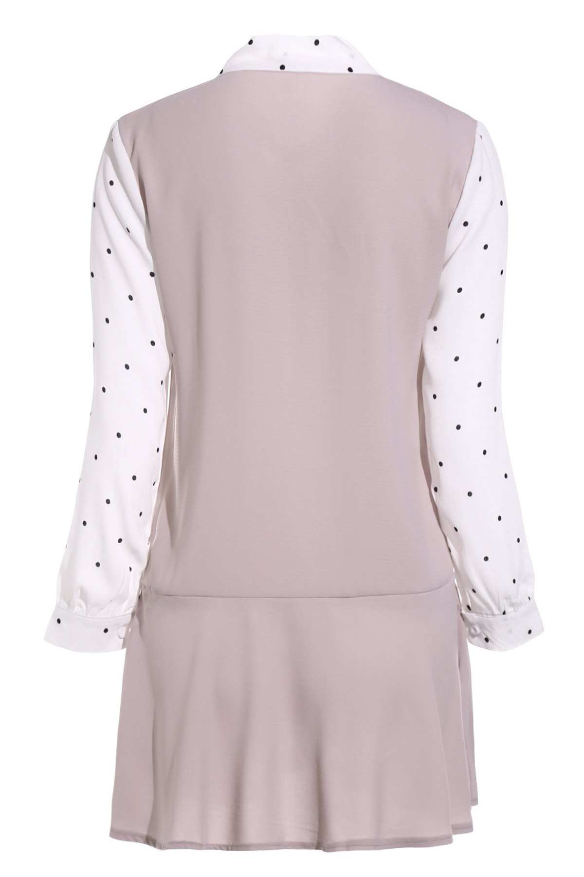 Polka Dot Self Tie Long Sleeve Dress - PINK ONE SIZE(FIT SIZE XS TO M)