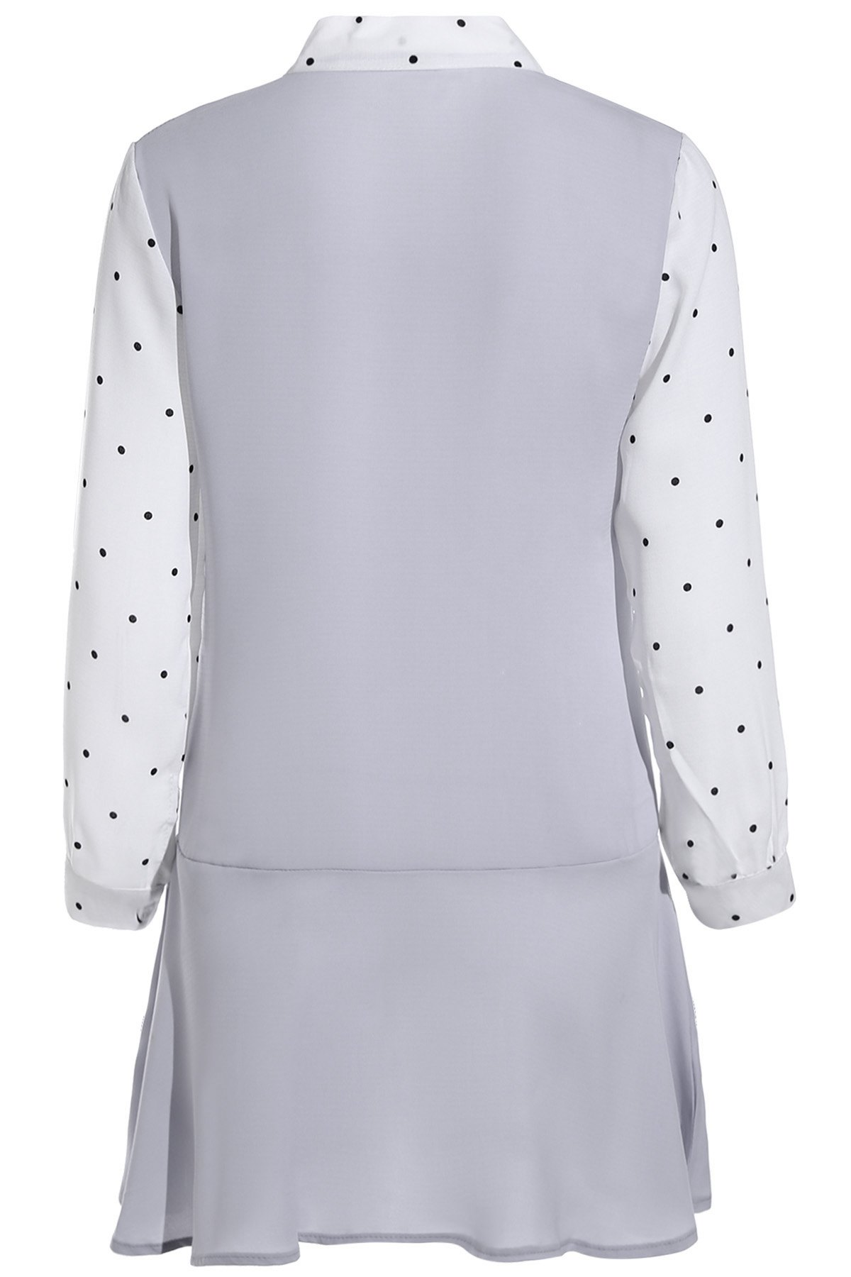Polka Dot Self Tie Long Sleeve Dress - PURPLE ONE SIZE(FIT SIZE XS TO M)