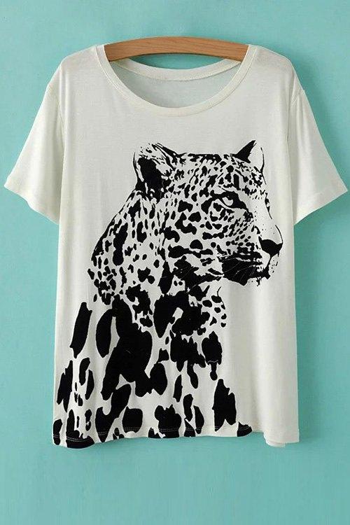 Round Neck Short Sleeve Leopard Pattern T-Shirt