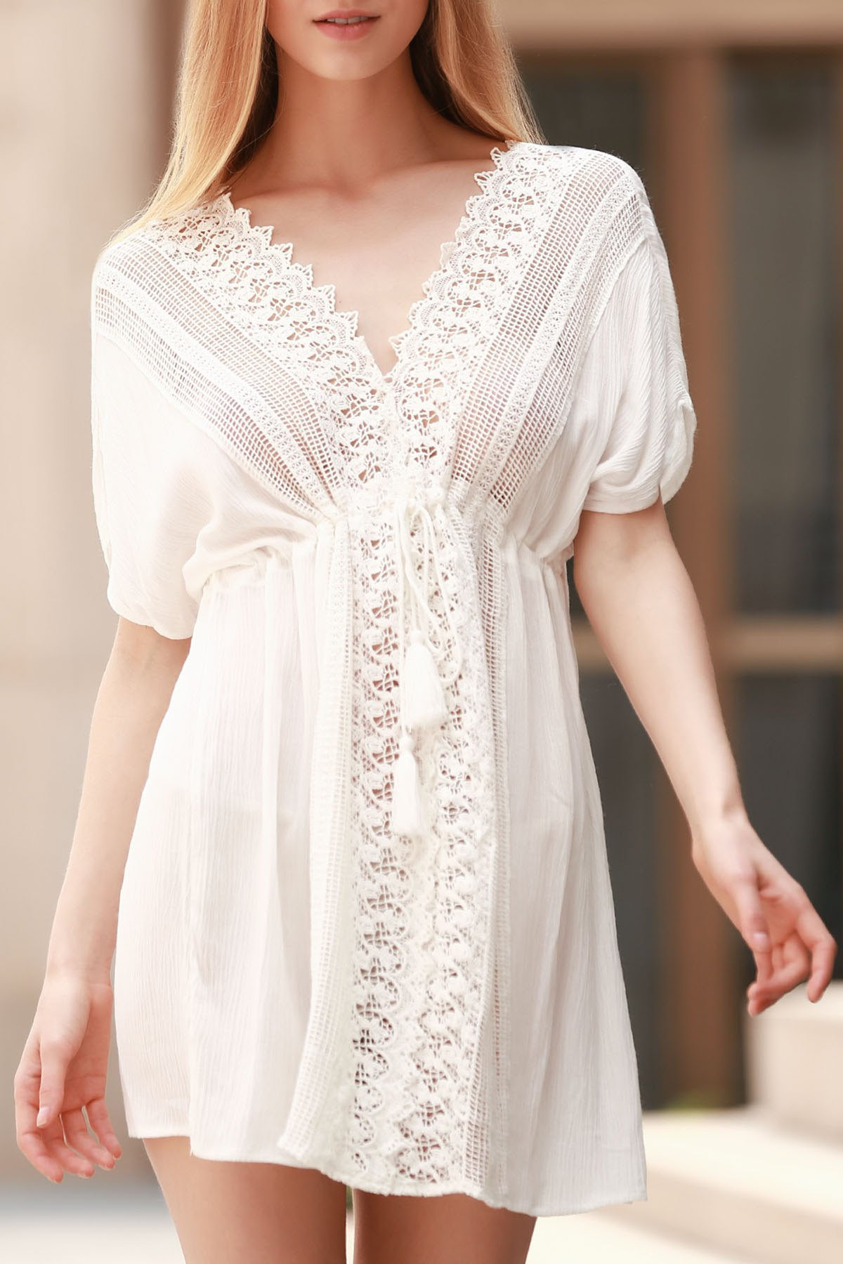 Plunging Neck Short Sleeve Hollow Out Lace-Up White Cover-Up