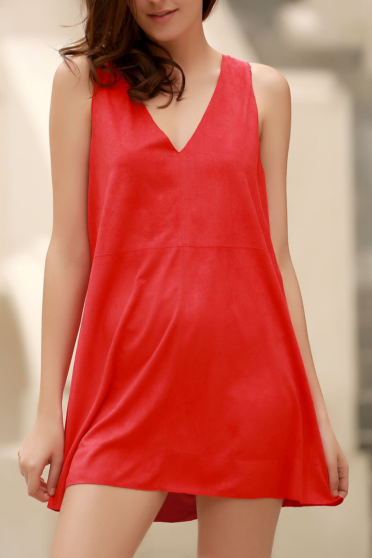 Plunging Neck Sleeveless Red Faux Suede Dress