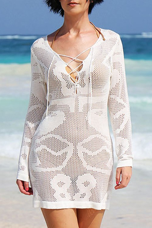 Plunging Neck Long Sleeve White Hollow Cover-Up Dress