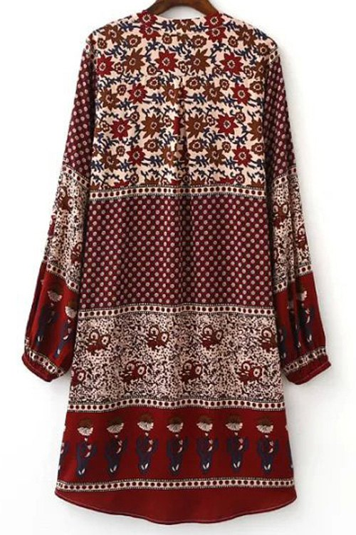 Printed High-Low Stand Neck Lantern Sleeve Dress - RED L
