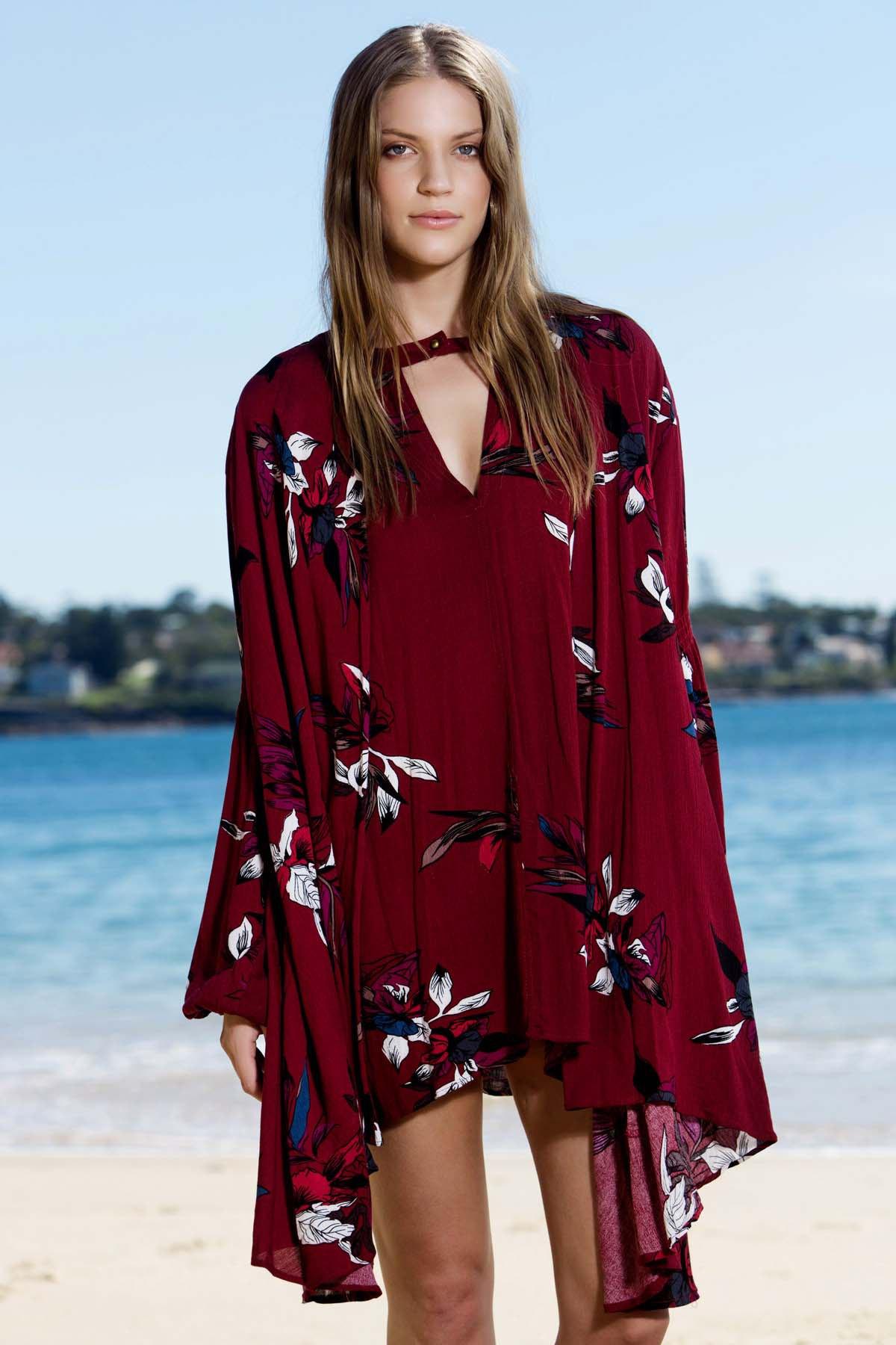 Keyhole Neckline Long Sleeve Floral Dress