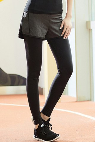 High-Waisted Stretch Fake Two-Piece Sport Pants