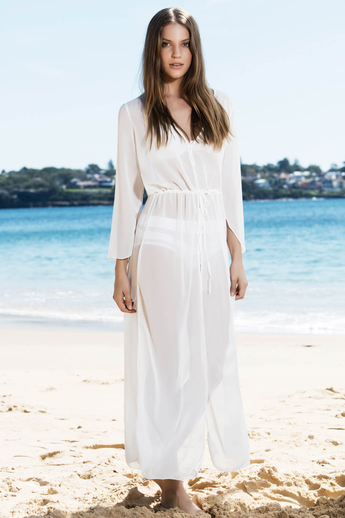 White Chiffon V Neck Long Sleeve Cover Up - WHITE ONE SIZE(FIT SIZE XS TO M)
