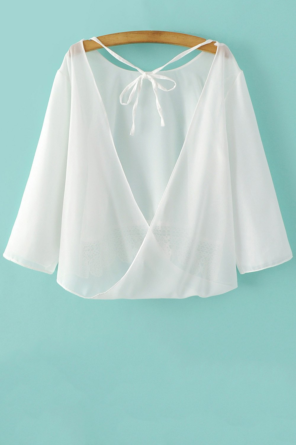 Back Cut 3/4 Sleeve Lace Spliced Blouse - WHITE S