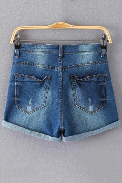 Broken Hole Bleach Wash High Waist Denim Shorts - DEEP BLUE S