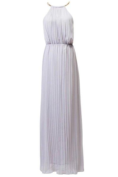 Round Neck Sleeveless Pleated Prom Dress