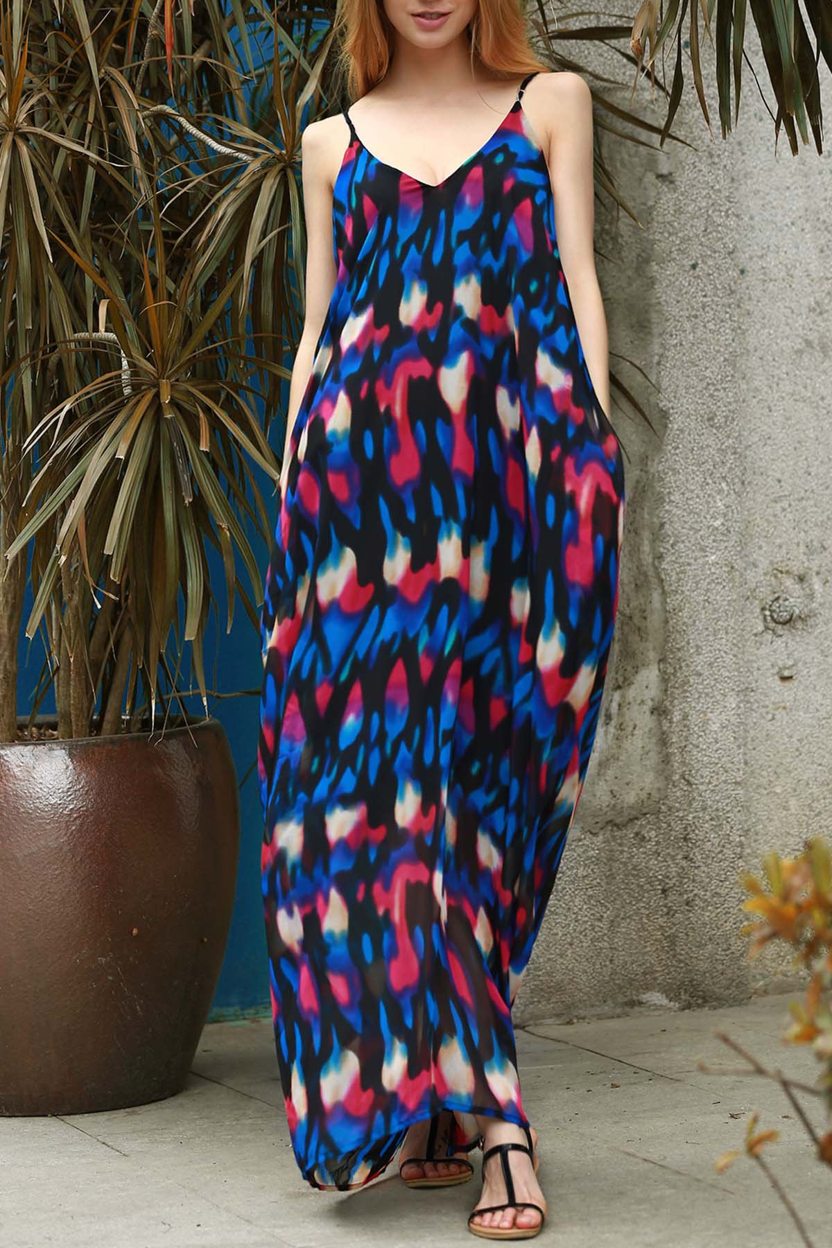 Abstract Print Camisole Maxi Dress