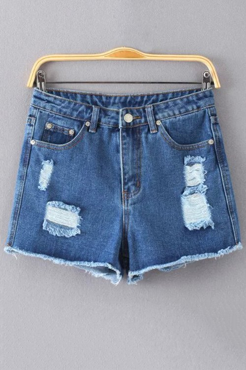 High Waist Ripped Solid Color Denim Shorts