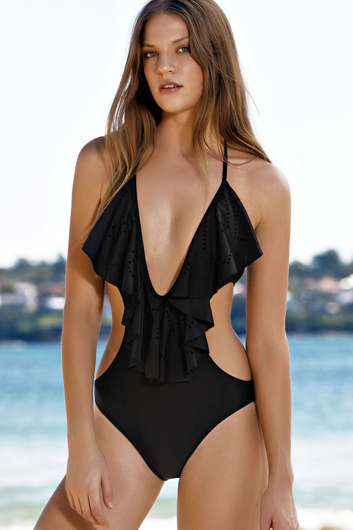 Plunging Neck Flouncing One-Piece Swimwear