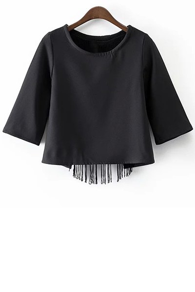 Round Neck Half Sleeve Black Tassels Cut Out T-Shirt