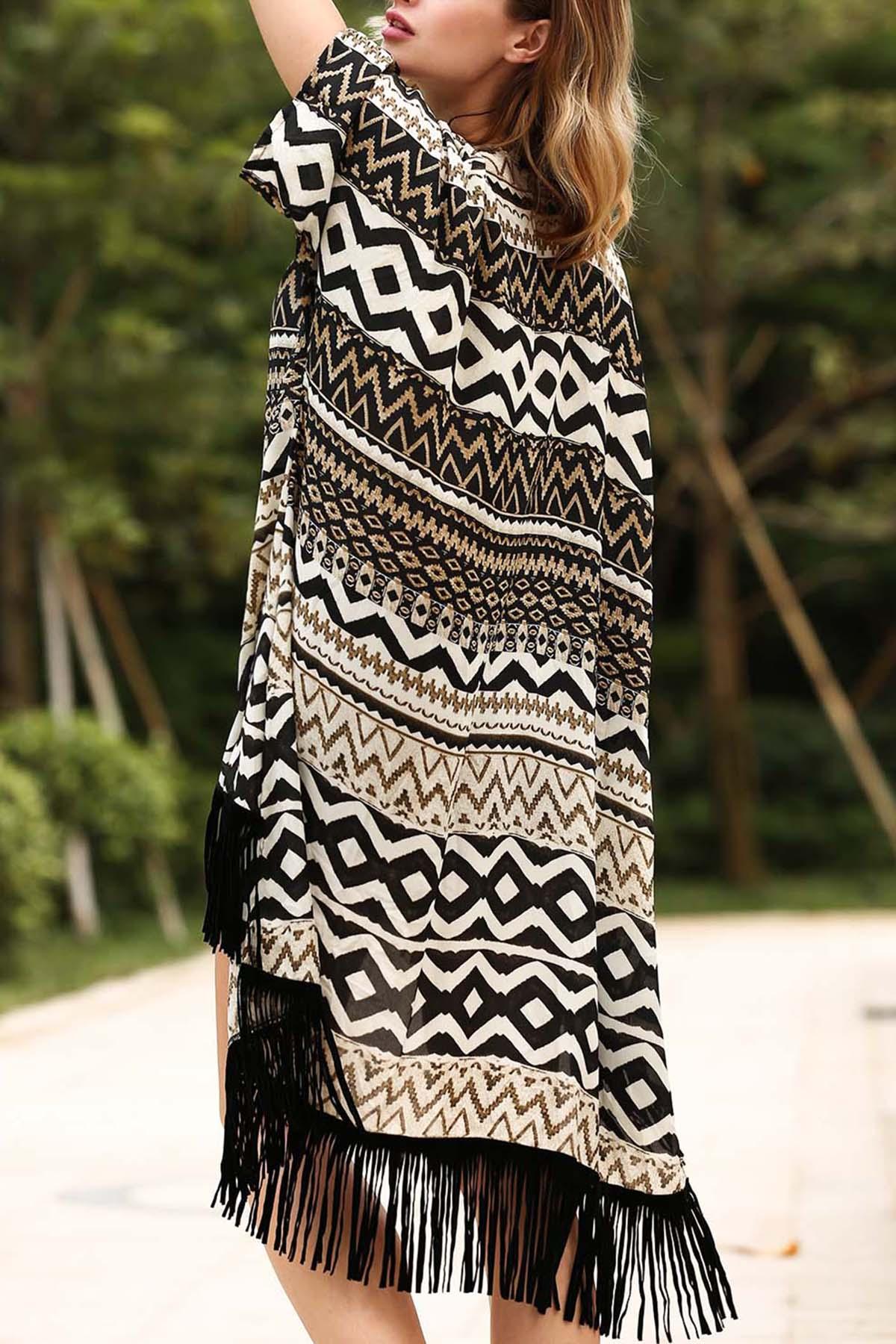 Batwing Sleeve Printed Long Kimono Blouse