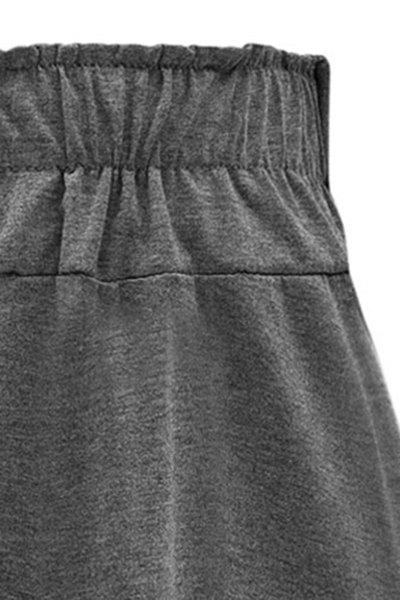 Pure Color Flared Midi Skirt - BLACK L