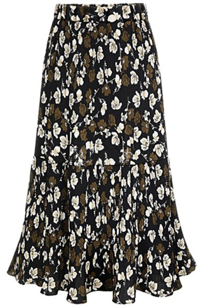 A Line Pleated Full Floral Skirt 177874401