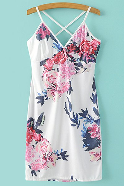 Spaghetti Straps Floral Print Mini Dress