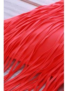 Spaghetti Strap Fringe Splicing Zig Zag Bikini Set