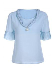 Pearl Embellished V Neck Short Sleeve T-Shirt - Blue