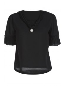Pearl Embellished V Neck Short Sleeve T-Shirt