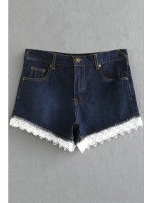 Fitted Lace Hook High Waist Denim Shorts