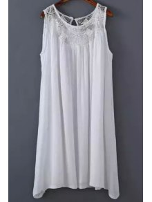White Lace Splicing Round Neck Sleeveless Dress - White