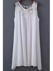 White Lace Splicing Round Neck Sleeveless Dress