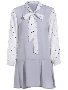 Polka Dot Self Tie Long Sleeve Dress
