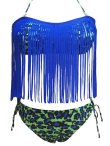 Leopard Print Halter Tassels Spliced Bikini Set - Blue 2xl