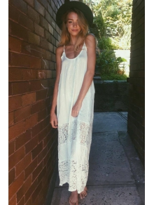 Spaghetti Strap Backless Floral Pattern Lace Maxi Dress