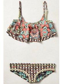Digital Print Spaghetti Strap Bikini Set