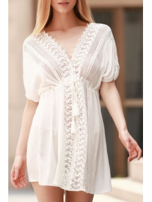 Plunging Neck Hollow Lace-Up White Cover-Up