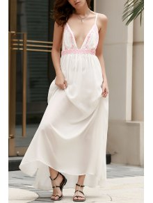 Spaghetti Strap Cami Maxi Dress - White M