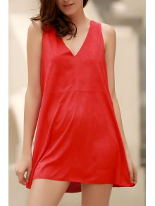 Red Faux Suede Plunging Neck Sleeveless Dress - Red L
