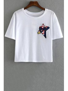 Star Embroidery Round Neck Short Sleeve T-Shirt - White M