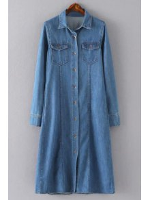 Blue Denim Turn Down Collar Long Sleeve Shirt Dress
