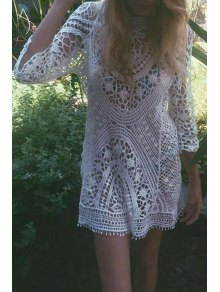 3/4 Sleeve Hollow Out Crochet Cover-Up