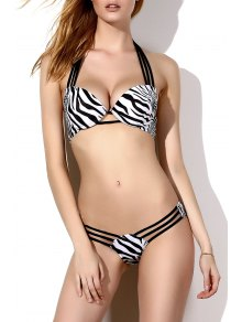 Striped Print Halter Bikini Set