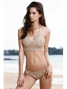 Tie Side Crochet Bikini Set - Khaki