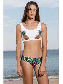 Straps Pineapple Print Tankini Swimwear