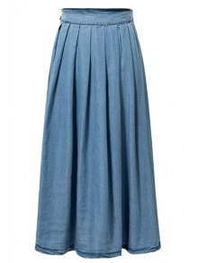 Light Blue High Waist Denim Skirt - Light Blue