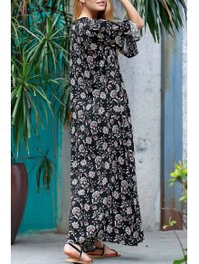 Allover Floral Print Maxi Dress - Black M