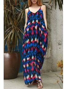 Abstract Print Maxi Slip Tunic Dress