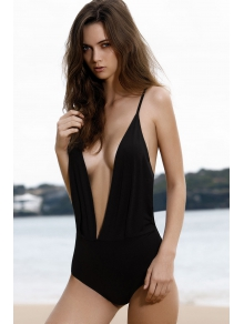 Solid Color Backless One-Piece Swimwear